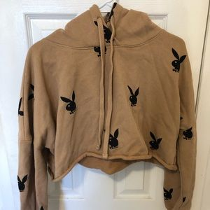 Missguided x Playboy cropped hoodie